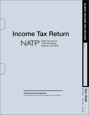 Tax Return Folders - Soft Blue w/Pocket & Die Cuts - Personalized - #80125
