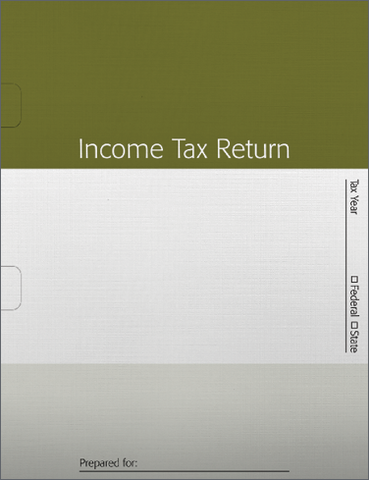 Tax Return Folders - Green Striped with Wide Spine - #144
