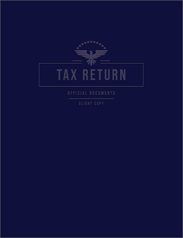 Tax Return Folders - Navy Linen Embossed with 2 Expandable Pockets - #157