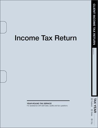 Tax Return Folders - Soft Blue w/Pocket & Die Cuts - #125