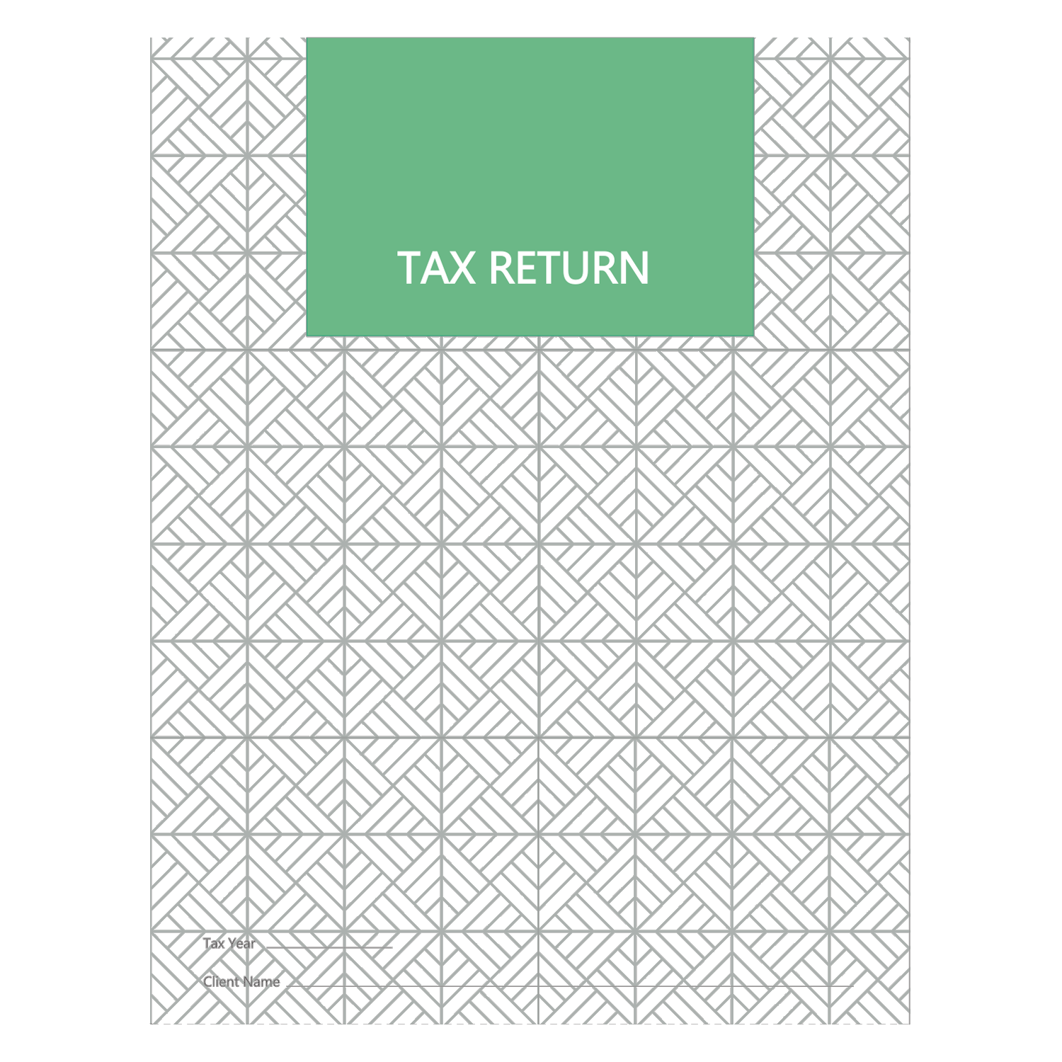 Tax Return Folders - Green Print with 2 Pockets - #156