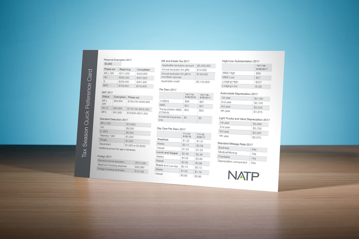 Tax Season Quick Reference Card (2018) - #198