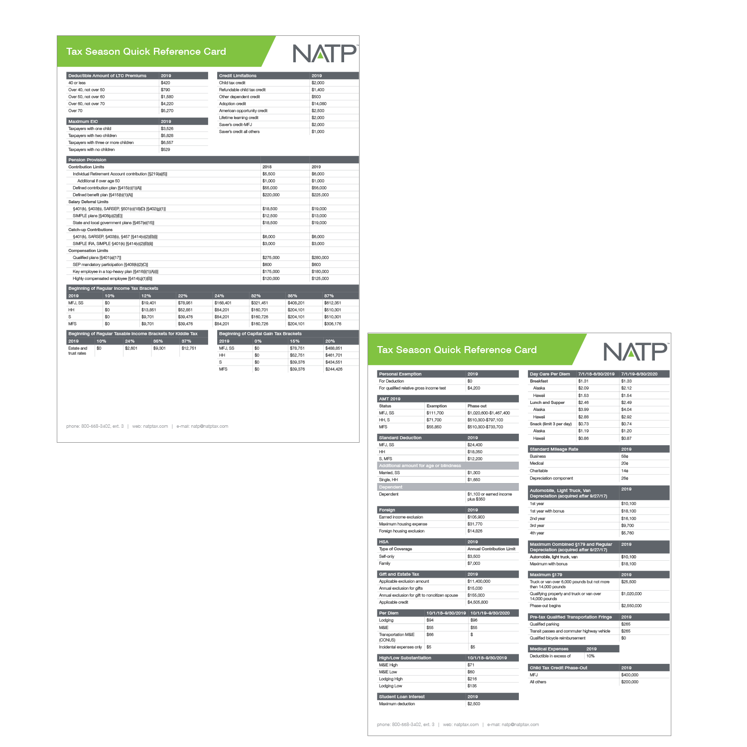 Tax Season Quick Reference Card (2019) - #199