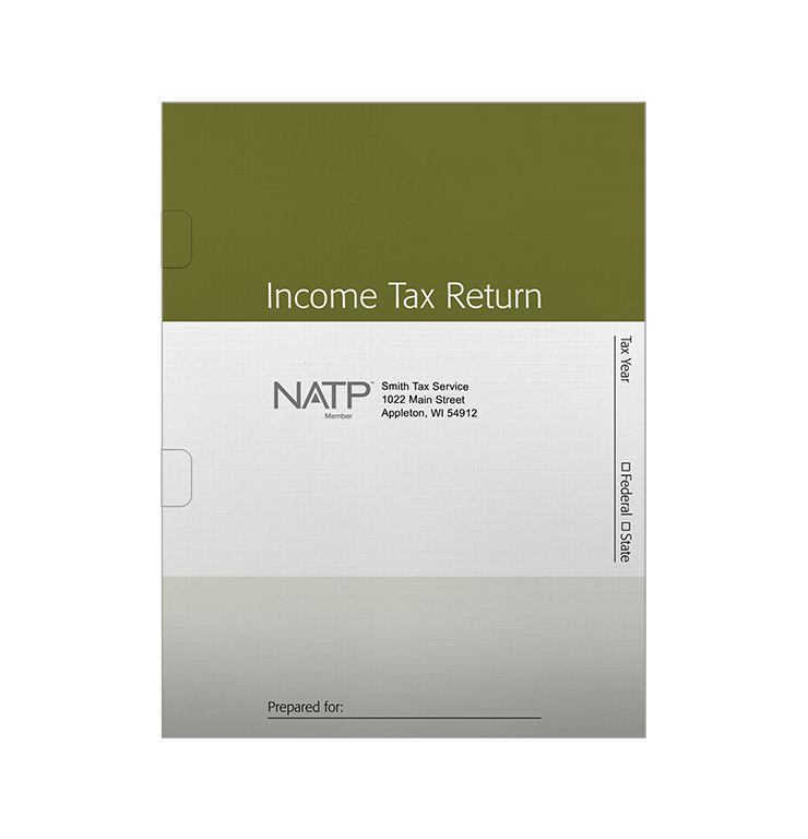Tax Return Folders - Green Striped with Wide Spine  – Personalized - #25144