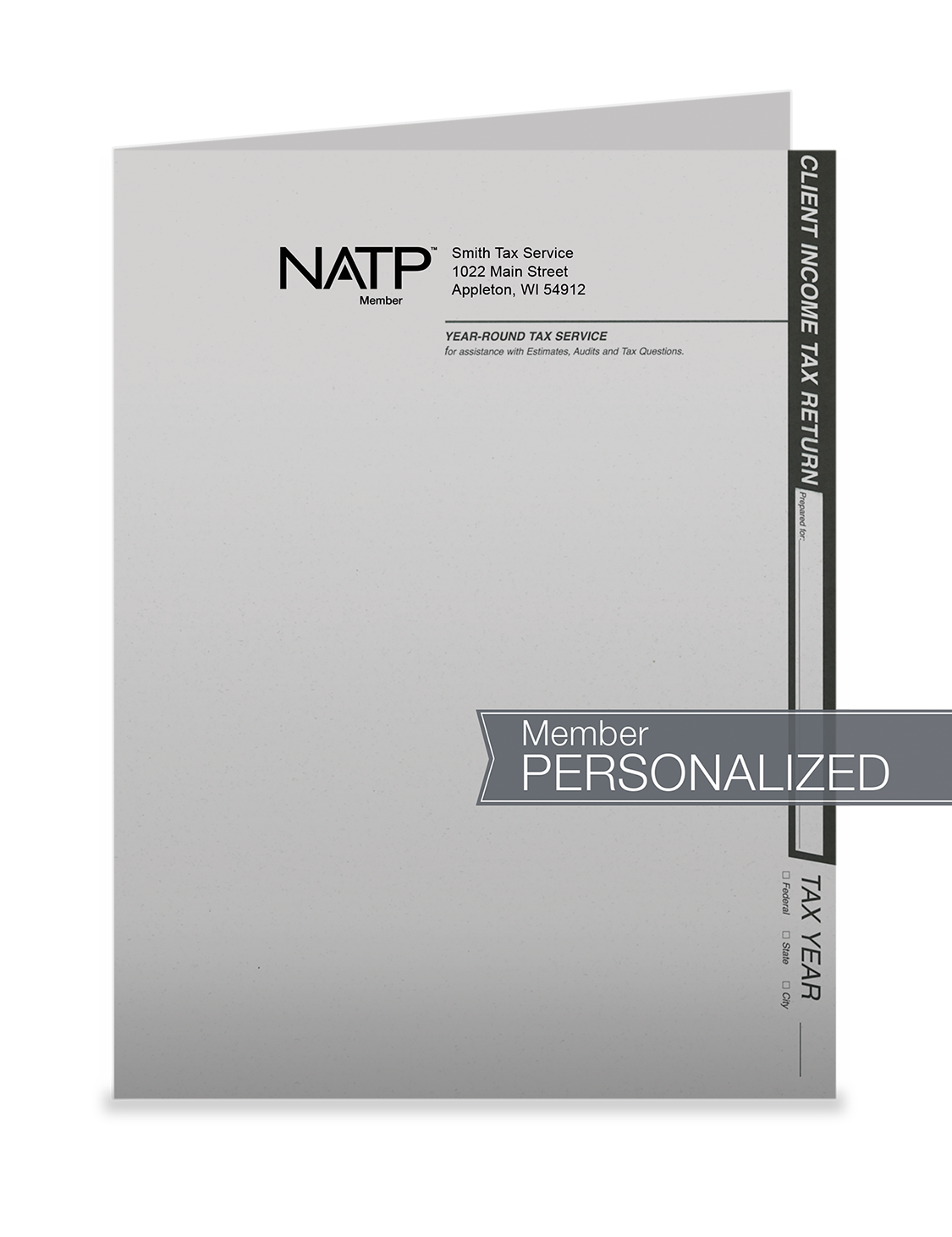 Tax Return Folders - Light Gray w/Pocket - Personalized - #25154