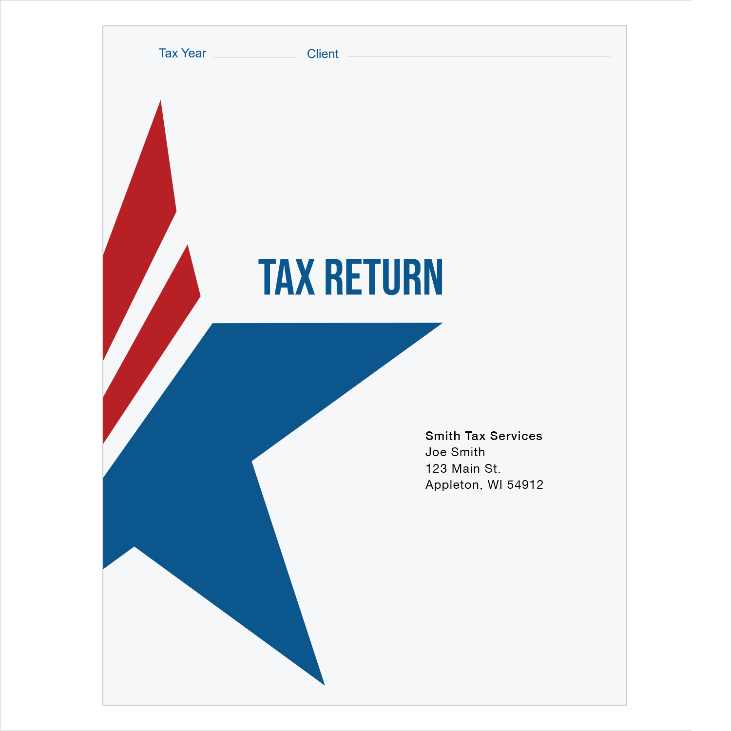 Tax Return Folders - Patriotic with Vertical and Horizontal Pockets - Personalized - #25155