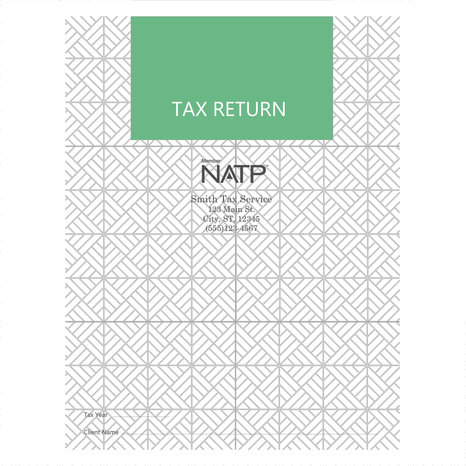 Tax Return Folders - Green Print with 2 Pockets - Personalized - #25156