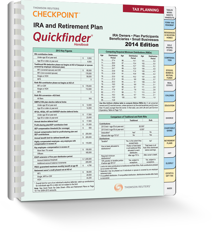 IRA and Retirement Plan Quickfinder® Handbook (2014) – #3418