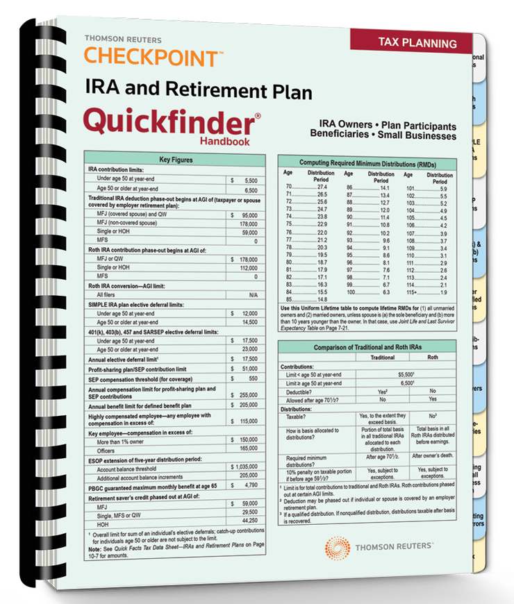 IRA and Retirement Plan Quickfinder Handbook (2015) – #3518
