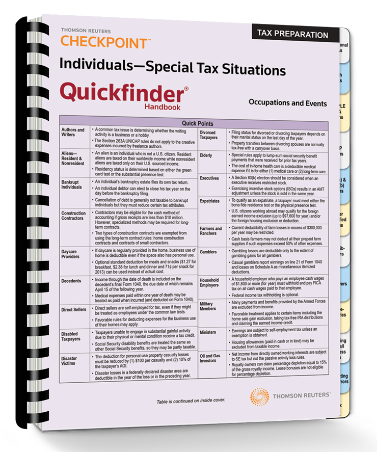 Individuals – Special Tax Situations Quickfinder Handbook (2015) - #3540