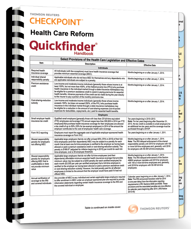 Health Care Reform Quickfinder Handbook (2015) – #3590