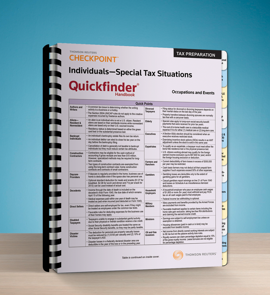 Individuals – Special Tax Situations Quickfinder Handbook (2016) - #3640