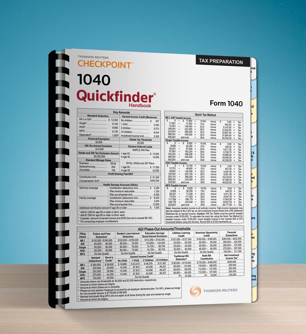 1040 Quickfinder Handbook (2016) - #3684