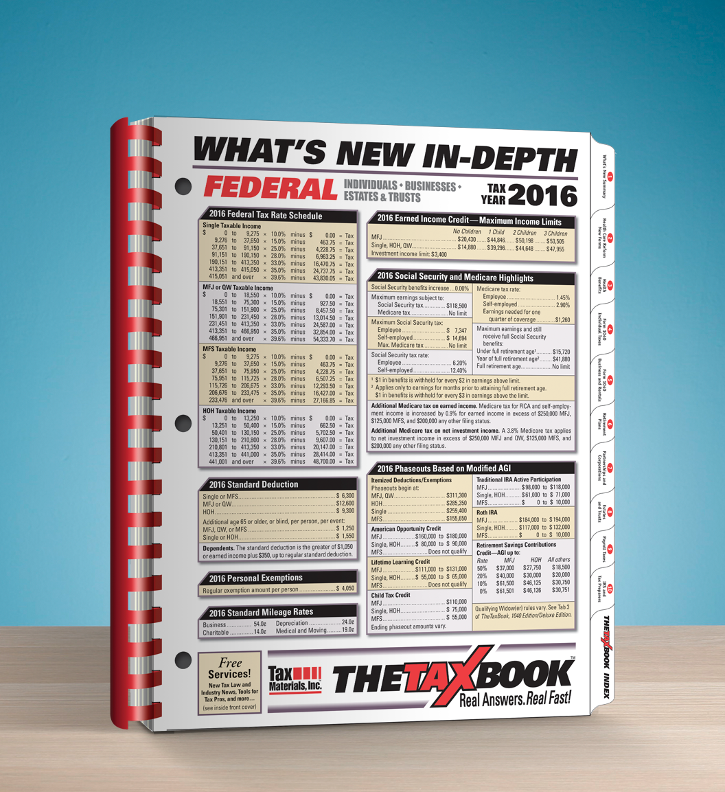TheTaxBook What's New In Depth Edition (2016) - #3695