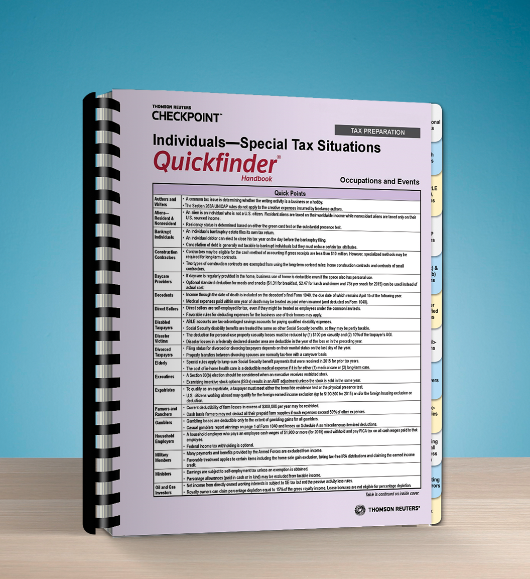 Individuals – Special Tax Situations Quickfinder Handbook (2017) - #3740