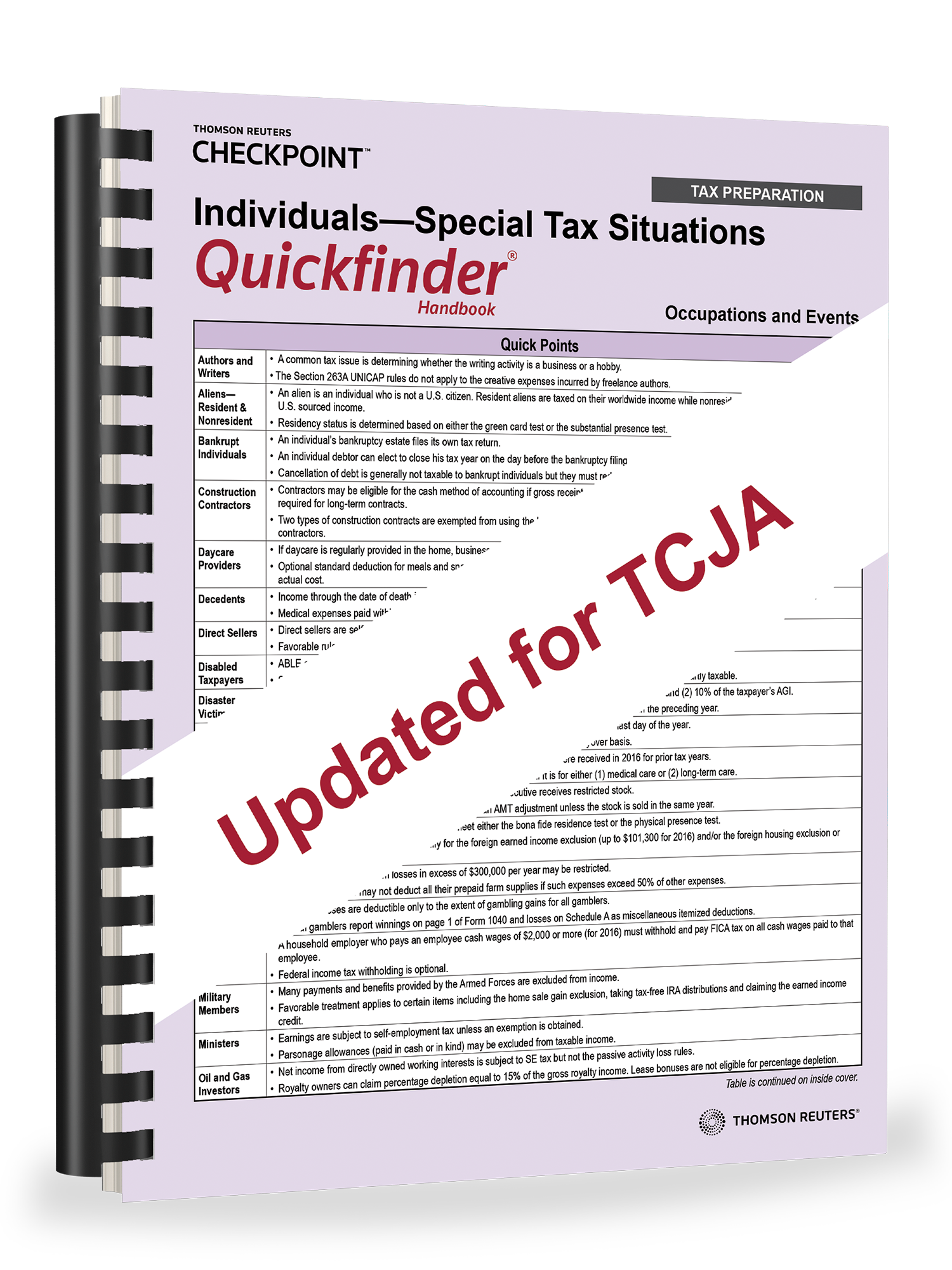 Individuals – Special Tax Situations Quickfinder Handbook (2018) - #3840