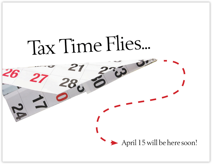 Tax Time Flies - New Client Postcards - #660C