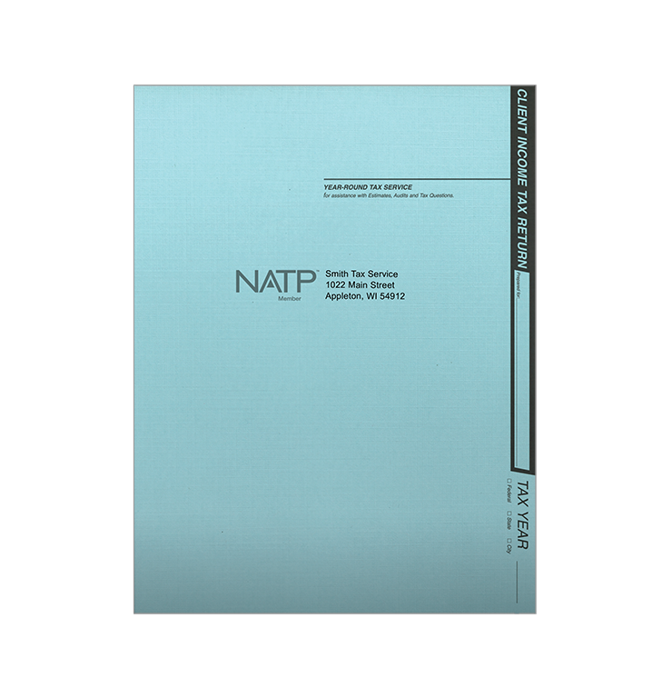 Tax Return Folders - Soft Blue - Personalized - #80121