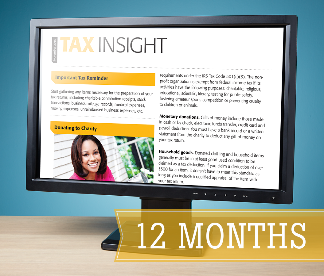TAX INSIGHT Client Newsletter - Downloadable 12-Month Subscription (2017) - #ES880