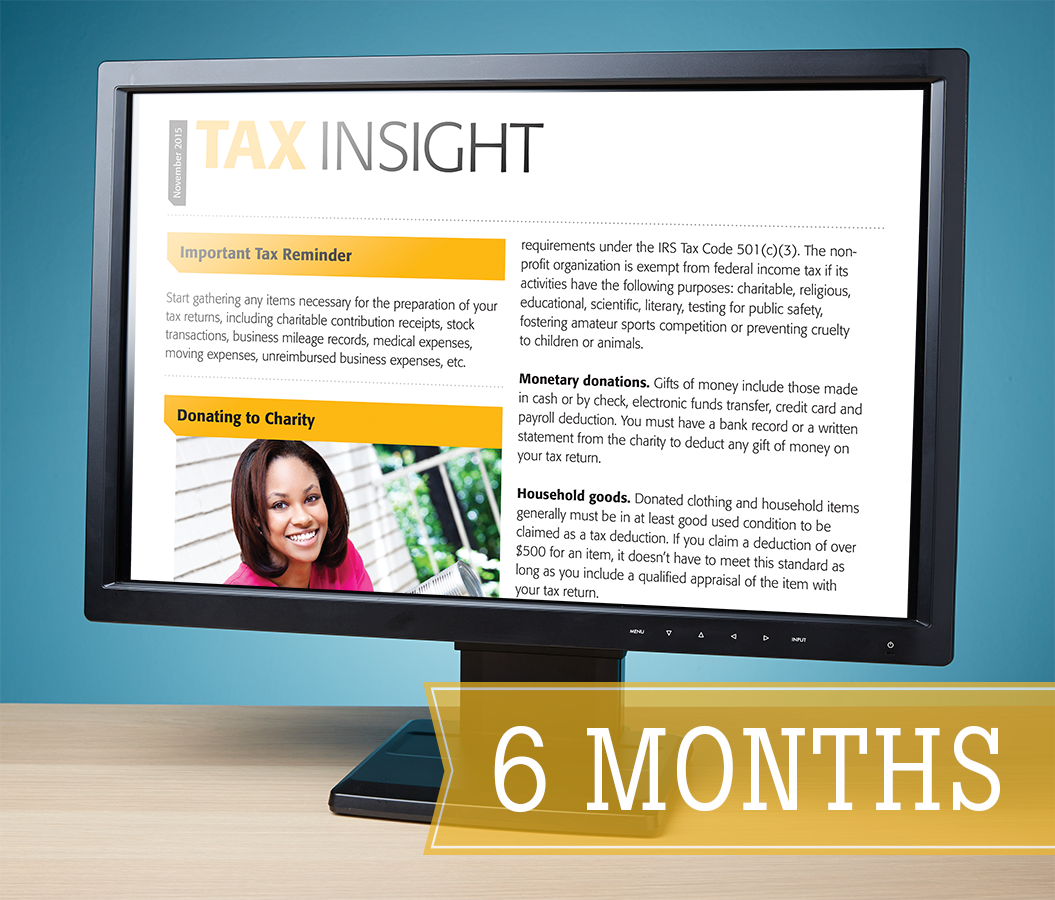 TAX INSIGHT Client Newsletter - Downloadable 6-Month Subscription (July-December 2017) - #ES881
