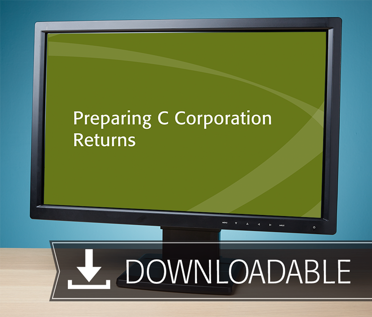 Preparing C Corporation Returns Textbook (2016) – Electronic PDF Version - #E3648C