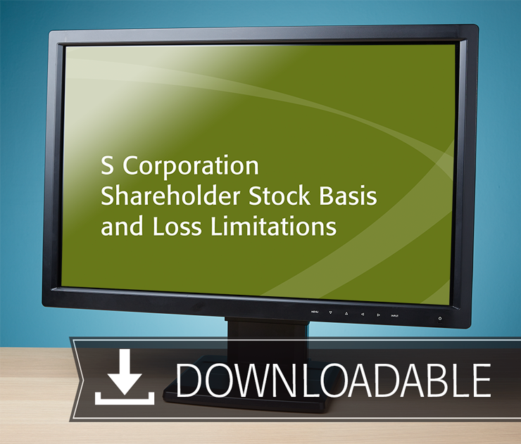 S Corporation Shareholder Stock Basis and Loss Limitations Textbook (2016) – Electronic PDF Version - #E4631