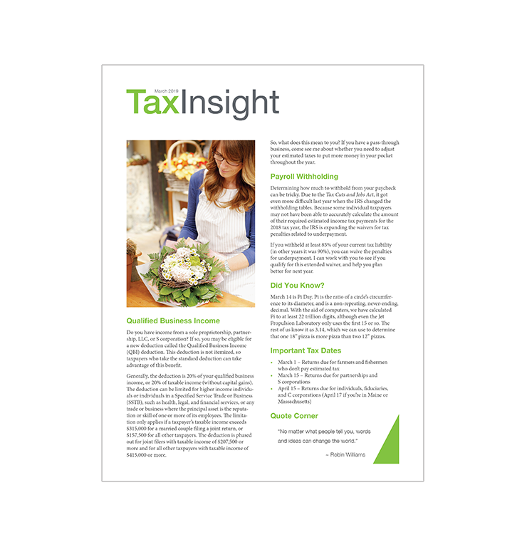 TAX INSIGHT Client Newsletter - Downloadable 12-Month Subscription (2019) - #ES884