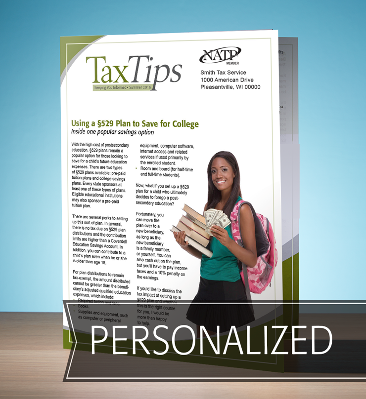 Tax Tips – Individual – Single Fold - Personalized (Summer 2016) - #TTS3615