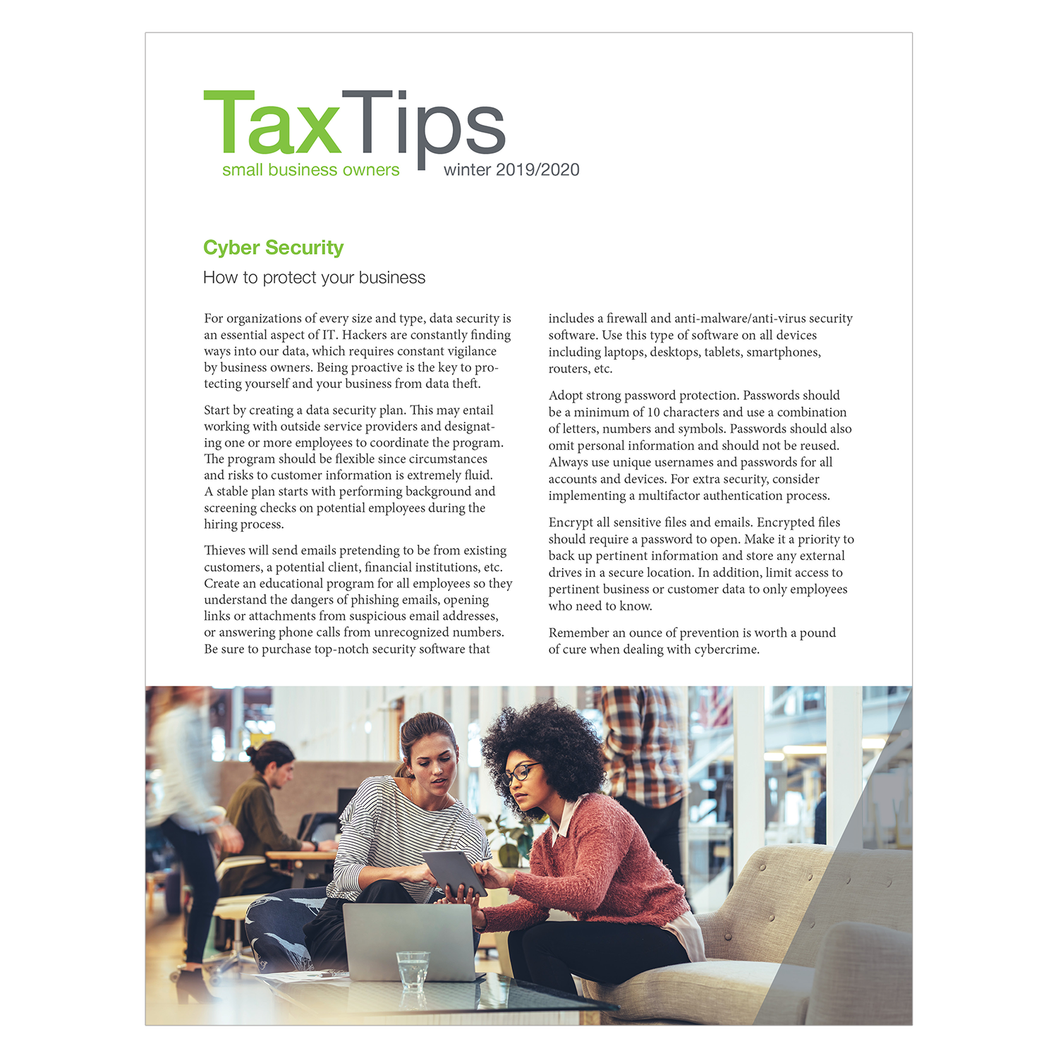 Tax Tips – Business – Single Fold - (Winter 2020/2021) - #TTSB32030